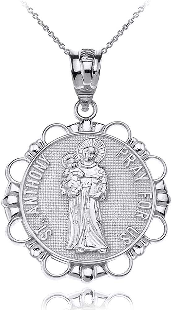 Sterling Silver Round Saint Anthony Boston Mall 25% OFF Lost of Patron Meda Articles