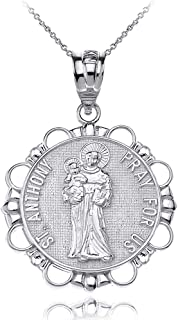 Sterling Silver Round Saint Anthony Patron of Lost Articles Medal Pendant Necklace