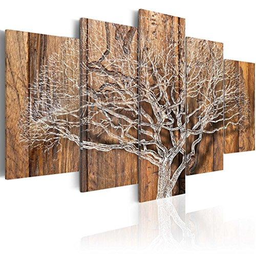 murando - Bilder 200x100 cm Vlies Leinwandbild 5 TLG Kunstdruck modern Wandbilder XXL Wanddekoration Design Wand Bild - Baum Holz Bretter b-C-0046-b-n