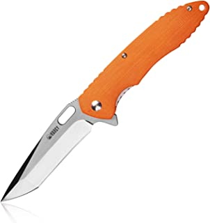 KUBEY Folding Knife Darknight KU003 D2 Steel G10 Handle Ball Bearing Tactical Knife Tool, 8 1/2-Inch Overall