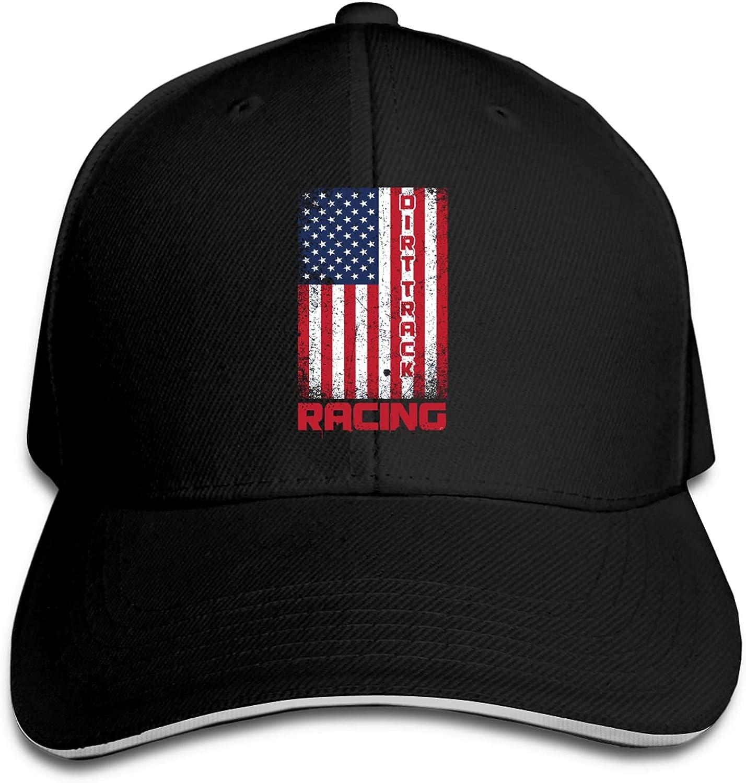 American Flag Dirt Track Racing Unisex Classic Casquette Sandwich Baseball Cap Adjustable