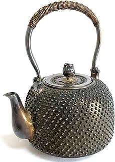 純銀 529g 銀瓶 湯沸し 霰 槌目打ち 純銀 刻印 回転花摘 茶道具 旧家 蔵出し 鉄瓶 B79 古商品