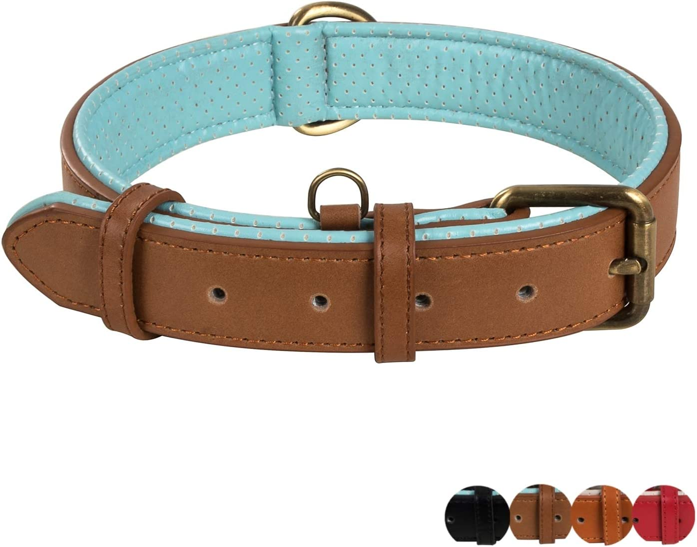 Inexpensive Poohoo Genuine Leather Dog Collar Soft Met Super special price Padded Breathable