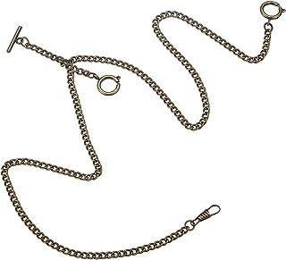 Decent Chrome-Plated Vest Waistcoat Pocket Watch Chain Tone Link Hook (Three Clasps - Black)