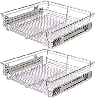 2 x Cesto Extraíble, 60CM Cajón Telescópico Cocina Superficie Soporte de Metal Cromado Cesto Extraible Armario Cocina con Carril Deslizante