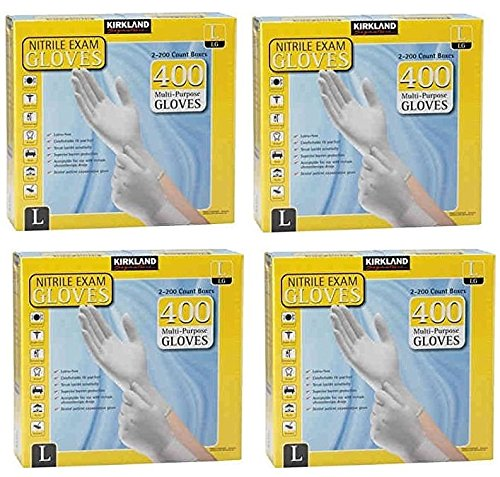 Kirkland Signature IKXlaX Nitrile Exam Multi-Purpose Large Gloves Latex-free, 400 Count (4 Pack)