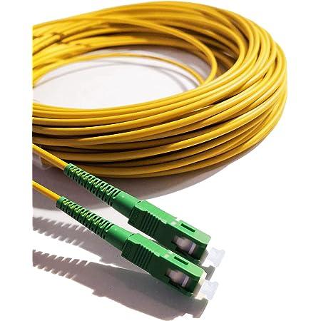 Elfcam®- Câble/Rallonge Fibre Optique Orange SFR Bouygues - 0,5M - Jarretière Simplex Monomode SC/APC à SC/APC - Blindage et Connecteur Renforcée - Perte Très Fiable - Jaune
