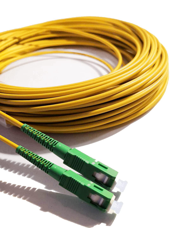 Elfcam Fibra óptica cable SC / APC a SC / APC monomodo simplex 9/125, Compatible con Orange, Movistar, Vodafone y Jazztel, 5 metros