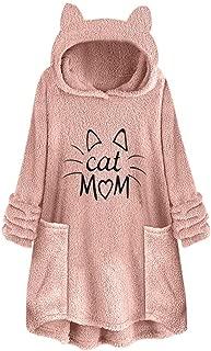 Libermall Womens Long Sleeves Sweatshirts Cartoon Cat Print Ear Fleece Pullover Sweatshirts Hoodies Coat Outwear