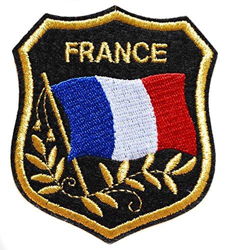 Ecusson France Francais Thermocollant 8x7 Cm Plus Ecusson Croix Rouge