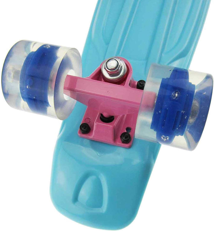 55,9 cm Kinder-Skateboard mit bunten LED-Leuchtrollen Mini-Cruiser-Board f/ür Anf/änger oder Profis mit hochfedernden PU-R/ädern