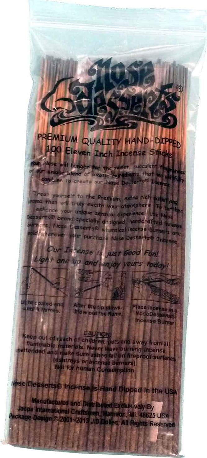 楕円形反対あごひげNose Desserts Brand プレミアム品質お香 ココマンゴタイプ 香水フレグランス香り バルクパック 1パック約90~100本 長さ11インチ 各パッケージ入り