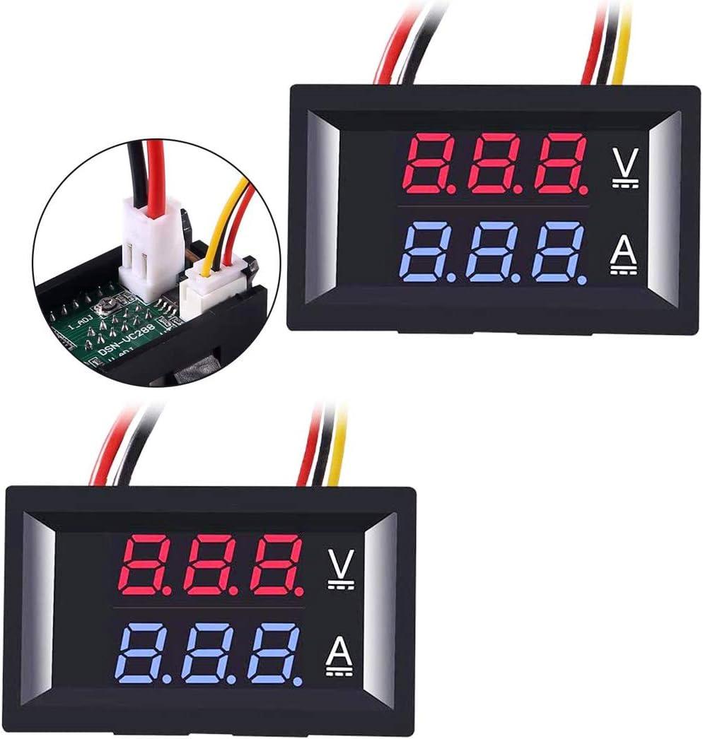 Greluma 2Pcs Amperímetro Voltímetro LED de 0.28