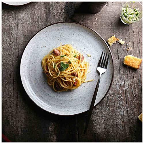 CJW Assiette en céramique créative coutellerie en céramique plat de pâtes salade assiette steak plaque 10 pouces grande assiette
