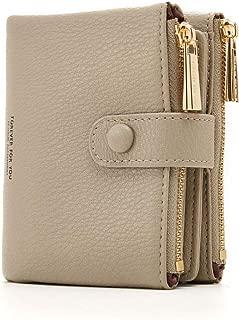 Cyanb Soft Card Holder Bifold Wallets Small Short Purse Dual Zipper Coin Pouch for Women