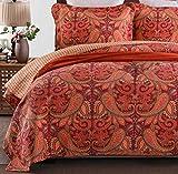 Baumwolle Tagesdecke Gesteppt Rot Kissenbezüge Bettiberwurf Bedruckt Doppelbett Wendedesign Steppdecke 4 Jahreszeiten Zierkissenbezüge Bettlaken Bettwäsche 3 Teiliges Sets,RedB-230X250cm