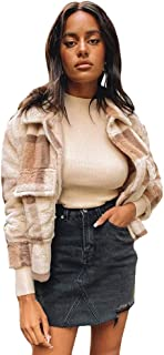 QitunC Women Lined Winter Warm Fluffy Faux Fleece Jacket with Pockets Plaid Casual Coat Cardigan
