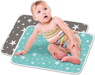 HyAdierTech 2 x deluxe unisex baby vattentät skötmatta, tryckt skötdyna, vattentät dyna för baby, mjuka urindynor absorber...