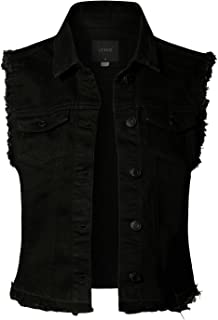 LE3NO Womens Sleeveless Vintage Distressed Ripped Denim Vest Jacket