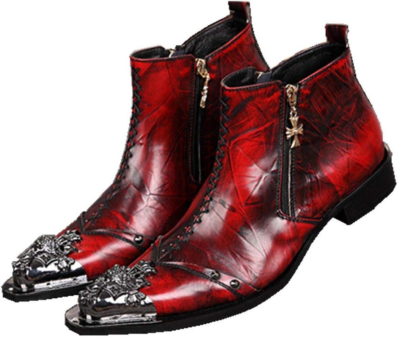 Herren Stiefeletten Lederstiefel Cowboy Stiefel Mnner Cowboystiefel Knchel Stiefel Metall Spitzschuhe Rot Formal Hochzeit Abend Party Nachtclub Gre 37-46