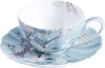 ufengke 8oz Blue Fine Bone China Coffee Cup with Saucer,Colored Flowers,White Crane Porcelain Tea Cup and Saucer