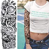 4 Piezas 48X17Cm Tatuajes Temporales Para Adultos Mujer Hombre Niños, Reloj Cabeza De Tigre Niña Búho Tótem Impermeable Negro Tatuaje Temporal Adhesivos Falsos Tatuajes De Cuerpo Temporales Brazo Cuel
