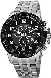 August Steiner Men's Swiss Quartz Black Dial Stainless Steel Band Chronograph Watch [AS8118SSB]