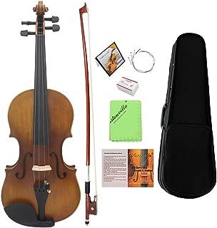 ammoon 4/4 Violín de Tamaño Completo Fiddle Acabado Mate Tablero de la Cara del Abeto Diapasón de Ébano Instrumento de 4 Cuerdas con Estuche Rígido Arco Colofonia Paño Limpia (#1)