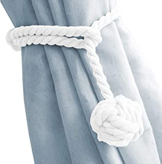 DEZENE 4 Pack Curtain Tiebacks,Handmade Natural Cotton Rope and Round Finial Drapery Tie Bakes,Decorative Holdbacks Holders for Window Sheer and Blackout Panels,White