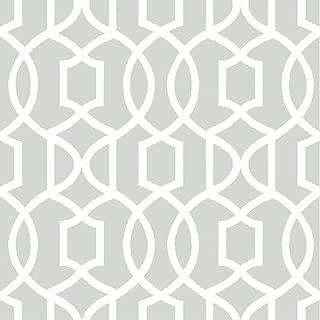 Wall Pops NU1421 Gray Grand Trellis Peel and Stick Wallpaper