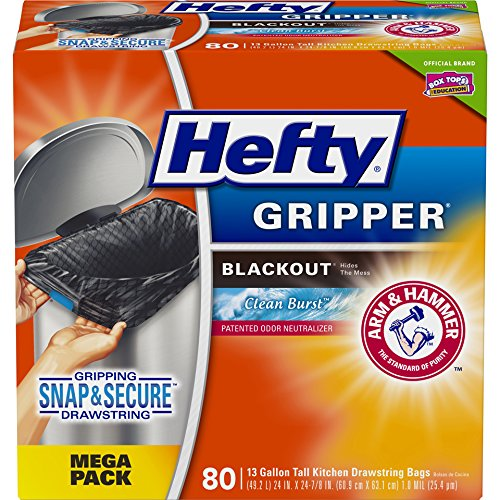 Hefty Ultra Strong Tall Kitchen Trash Bags, Clean Burst Scent, 13 Gallon, 80 Count