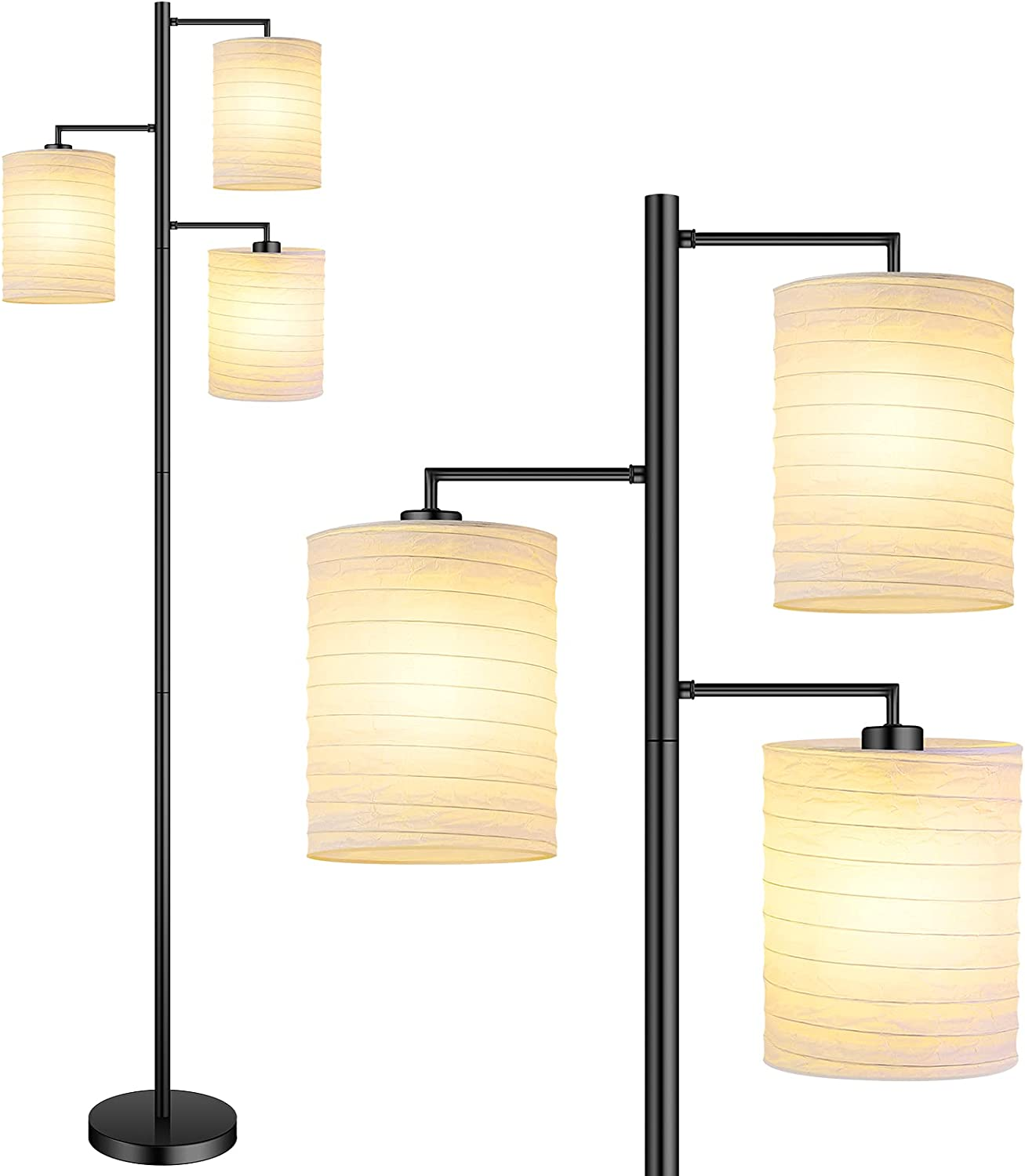 3 Lights Floor Lamp Tall Tree Floor Lamp with Asian Lantern Shade Black Standing Pole Light w/E26 Base Contemporary/Modern Foot Pedal Reading Lamp for Bedroom/Living Room/Office(Bulbs not Included)