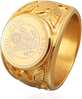 JAJAFOOK Punk Style 316L Stainless Steel Vintage US Army Badge Eagle Ring for Men Womens Silver/Golden/Black