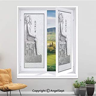 Window Film,Anti UV Static Cling Window Film For Privacy Removal Decorate Heat Control Glass Tint Home Office Windows,Full-size,11.8 W x 35.4 L inches,Egypt Decor,Ancient Antique Era Egypt Pharaoh Kin