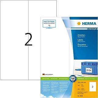 HERMA Etichette Universali, 105 x 297 mm, Etichette Adesive A4 per Stampante, 2 Etichette per Foglio, Bianco