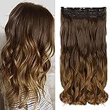 Neverland - Extensiones de pelo de clip, extensiones de cabello de 60cm para toda la cabeza, pelo rizado y ondulado con tono degradado para mujer