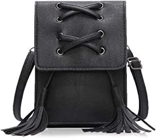 ZVE Small Leather Crossbody Cellphone Shoulder Bag for Women, Smartphone Wallet Purse with Removable Strap for Shopping -Black