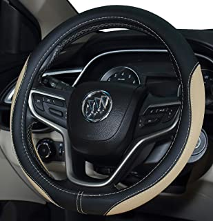 DuoDuoBling 2019 New Microfiber Leather Steering Wheel Cover (Beige)