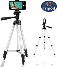 Reching 40-Inch Complete Tripod Units,Aluminum Camera Phone Tripod with Universal Tripod Smartphone Mount & Carrying Bag (Silver)