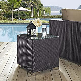 Modway Convene Wicker Rattan Outdoor Patio Side Table in Espresso