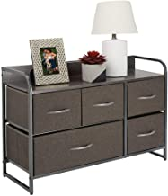 mDesign Wide Dresser Storage Chest, 5 Fabric Drawers, Fabric, Charcoal Gray/Graphite Gray Gray, Pack of 1