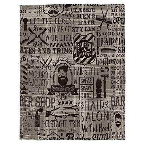 BAIYANGYANG Barber Shop Letters Element Überwurfdecke Tragbare weiche Tagesdecke Mikrofaser-Flanelldecken für Betten