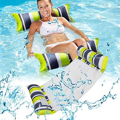kunst für alle Aufblasbare Hängematte, Pool Float Lounge Wasserstuhl Wasser Hängematte 4-in-1 Ultrabequeme Luftmatratze Schwimmende Wasser Bett (Grün+schwarz*2)