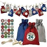 Calendario Adviento Navidad,Bolsa de Regalo Navidad,Set de 24 Bolsas de Calendario de Cuenta Regresiva de Navidad,DIY Bolsa para Regalo,Bolsas de Yute Navideño con Pegatinas Adornos