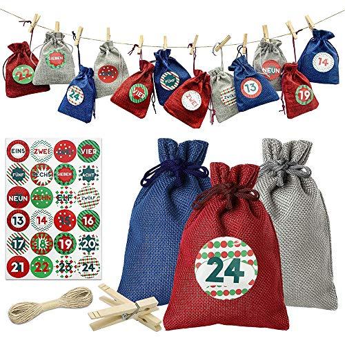 24 Adventskalender zum Befüllen-Stoffbeutel,Adventskalender Stoffsäckchen zum Selberfüllen Jutesäckchen Weihnachten Geschenksäckchen mit Zahlen Aufkleber + Mini-Holzklammern und 10m Jute Hanfseile