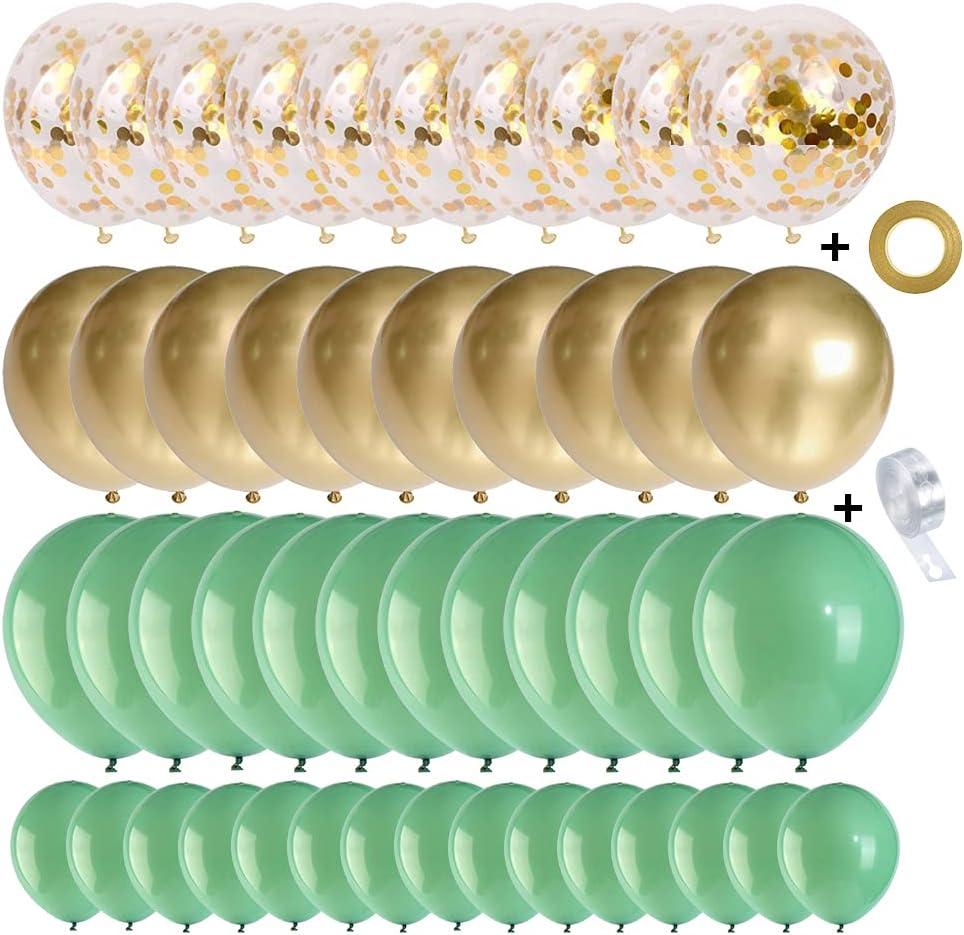 Sage green and Gold Balloons Garland 127 pcs Confetti Metallic L