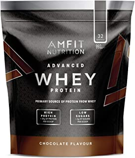 Marca Amazon - Amfit Nutrition Proteína Whey de suero de leche sabor chocolate, 32 porciones,  990 g