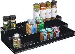 mDesign étagère à épices design pour la cuisine – présentoir à épices extensible en plastique pour plan de travail & armoi...