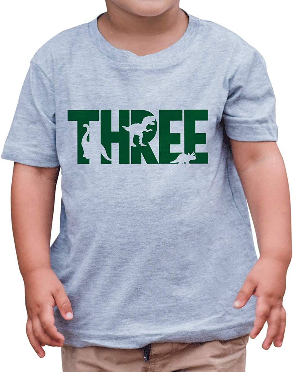 7 ate 9 Apparel Kid's Three 3rd Third 3 Dinosaur Birthday Dino Grey T-Shirt