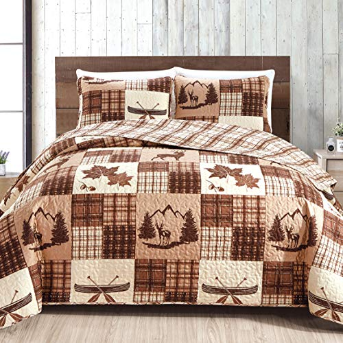 Great Bay Home Lodge Bedspread Full/Queen Size Quilt with 2 Shams. Cabin 3-Piece Reversible All Season Quilt Set. Rustic Quilt Coverlet Bed Set. Redwood Collection.